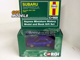 IMPREZA 22B   1/43 SCALE MODEL CAR IN BLUE WITH HAYNES BOOK GIFT SET