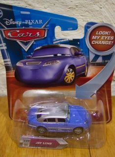 Disney Cars Jay Limo Leno Blue Car w Changing Eyes New