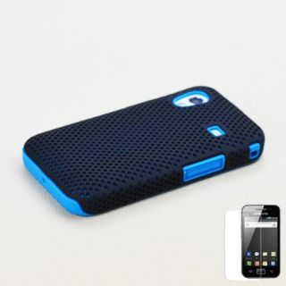 Samsung Galaxy Ace S5830 Black Blue Hybrid Case Cover Screen Protector