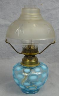 Vintage Small Oil Lamp with Chimney Shade Blue Coinspot Base