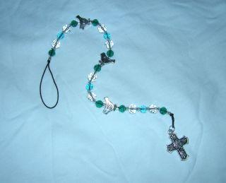 Blues Greens Crystal Suncatcher Pendulum with Birds Talavera Cross on