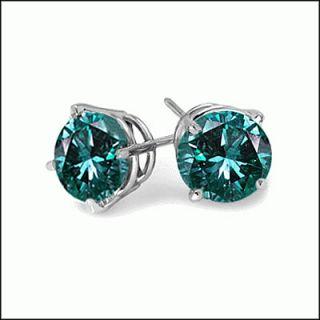 33 Ct Carat Blue Diamond Stud Earrings 14k White Gold