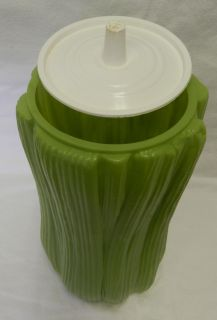 Vintage Retro Avocado Green Celery Plastic Keeper Container Canister