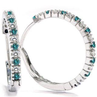 2ct Blue White Diamond Hoops White Gold Earrings 14k Womens Prong