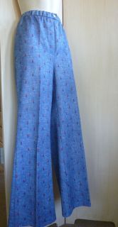 Vtg 70s Blue Floral Bell Bottom Pants Hi Waist Costume Womens Medium M