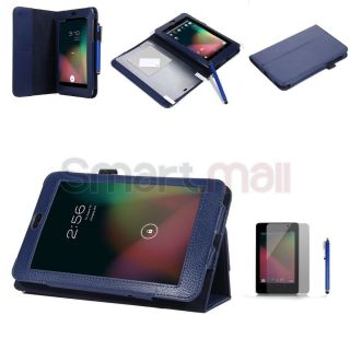 Blue PU Leather Folio Case Cover for Google Asus Nexus 7 Inch Tablet