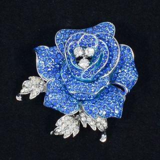 Swarovski Crystals Retro Cute Blue Rose Flower Brooch Pin 2 1