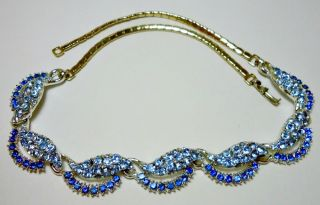 Gold Blue Crystal Rhinestone large link Choker Necklace Stunning