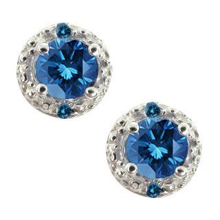 ct genuine round blue diamond gemstone 10k white gold earrings