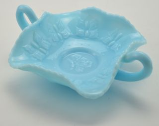 Fenton Art Glass Blue Bon Bon Dish Vintage Collectible 1970s Home