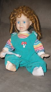 Sitting Blue Eye Porcelain Baby Doll Curly Hair Rainbow Adorable Gift