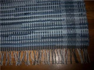 primitive blue jean denim loom woven rag rug runner 48 x 26 hand made