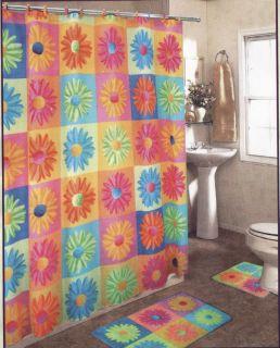 RETRO Bright Pink Orange Blue Green Block CRAZY DAISY Shower Curtain