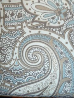 NICE BLUE/BROWN & IVORY PAISLEY PRINT 100% COTTON SHOWER CURTAIN WITH