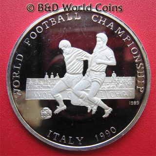 1989 500 Afganis Silver Proof 1990 Italy World Soccer Football
