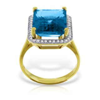 Certified 7.8 Ct RING NATURAL Diamond BLUE TOPAZ 14K Solid Yellow Gold