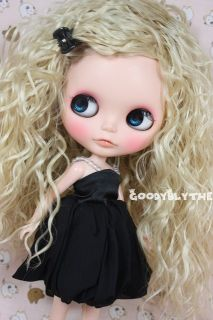 Goodyblythe 12 Blythe Hair Wig Blue White Highlight Curly w Hairpin