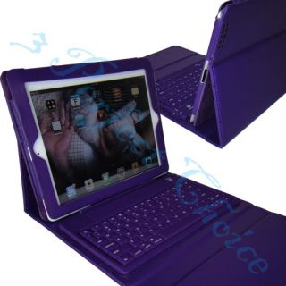 Purple Bluetooth Wireless Keyboard Leather Case Cover for The New iPad