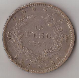 WONDERFUL BOGOTA COLOMBIA 1 PESO 1866 SILVER COIN