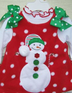 BONNIE BABY 0 3 month CHRISTMAS SNOWMAN JUMPER DRESS +FULL BODY SUIT