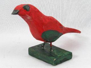 QUEBEC PRIMITIVE FOLK ART WOOD CARVING BIRD SIGNED EMILE BLUTEAU