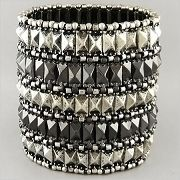 Silver Hematite Metal Beaded Stretch Bracelet New