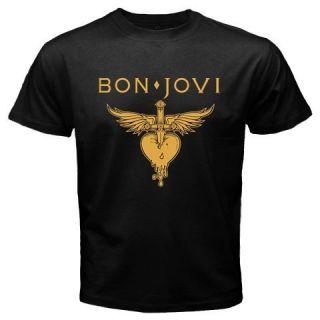 Bon Jovi Logo Heart Rock New Black T Shirt All Size