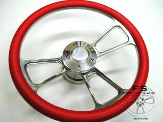 14 Red Half Wrap Aluminum Steering Wheel Set for Marine Boat