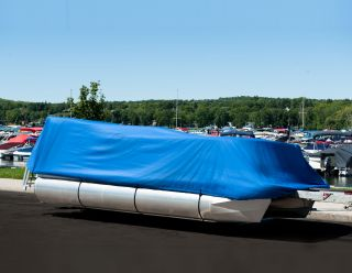 New 21 24 Pontoon Boat Cover Grey Heavy Duty Trailerable w Carrying