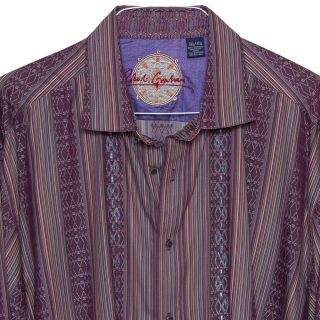Robert Graham Mens LS Casual Shirt Embroidered Diamonds Dark Stripes