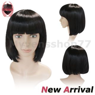 Black Bob Hair Wigs Style Short Straight Full Wig Synthetic Hair