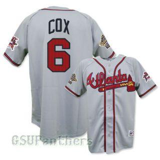 Bobby Cox Atlanta Braves 1995 World Series Grey Road Jersey Sz M 2XL