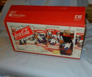 Coke Bear Set of 8 Glasses Bears Skating Ice Hockey Skiing Bobsledding