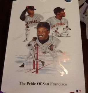 Willie Mays Barry Bonds Bobby Bonds Pride of San Francisco Litho Auto