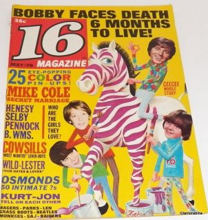 16 Magazine May 1970 Donny Osmond David Cassidy J 5 Bobby Sherman