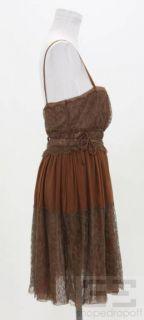 BOTTEGA VENETA Brown Silk Chiffon Lace Sleeveless Dress Size 46 Spring