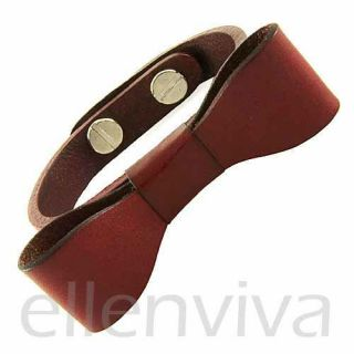 Cute Burgundy Red Leather Big Bow Bracelet New BT122RD