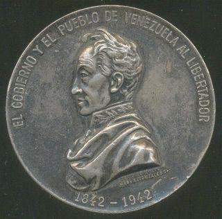 Simon Bolivar Venezuela RARE Silver Medal 1942 Unlisted in Silver