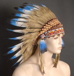Indian Costume Headdress White Blue Feathers Beaded Tan Headpiece