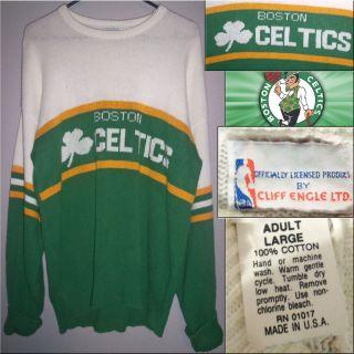 Vtg 1980s Boston Celtics NBA Authentic Cliff Engle Sweater Mens Large