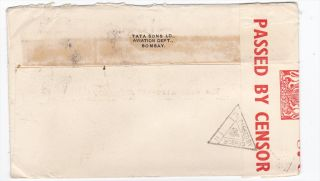 India Bombay Tata Sons Aviation Dept to US 1940s Censored WWII Cover
