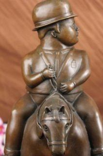 Fernando Botero Bronze Man on Horse Modern Art Figurine