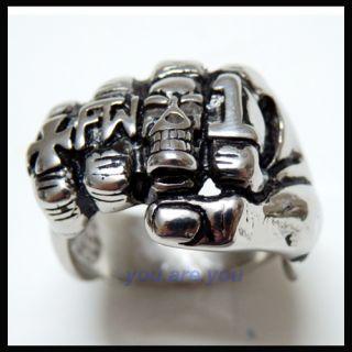 New Mens Cross Skull Hand Boxing Ring Stainless Steel 316L Gift Box