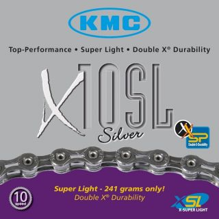 KMC X10SL 10 speed road bicycle chain bike Silver 116 Link Light