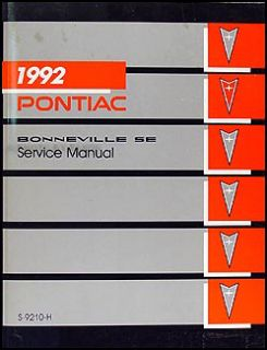 1992 Pontiac Bonneville SE Repair Shop Manual 92 Original OEM