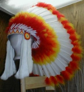 Native American White Fireball War Bonnet Headdress