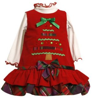 Bonnie Baby Girls Newborn Corduroy Jumper Set with Tiered Skirt Red 0