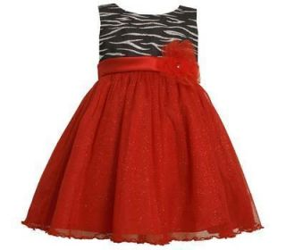 Bonnie Jean Girls Red Glittering Tulle Pageant Holiday Christmas Dress