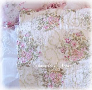 Shabby Cottage Chic French Fleur de Lis Pink Roses Scrolls Queen Quilt
