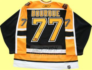 Boston Bruins jersey autographed by Ray Bourque. The jersey is semi